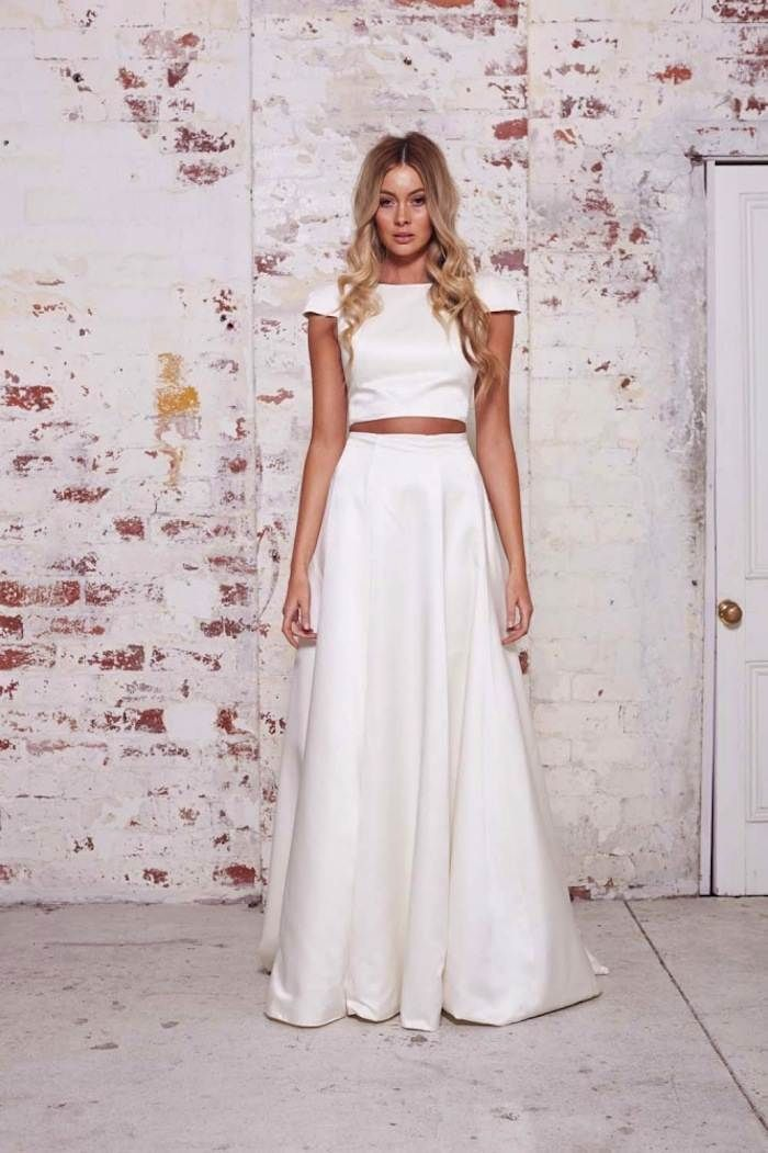 Casual crop top 2-piece wedding dress from Karen Willis Holmes' The Wild Hearts Collection