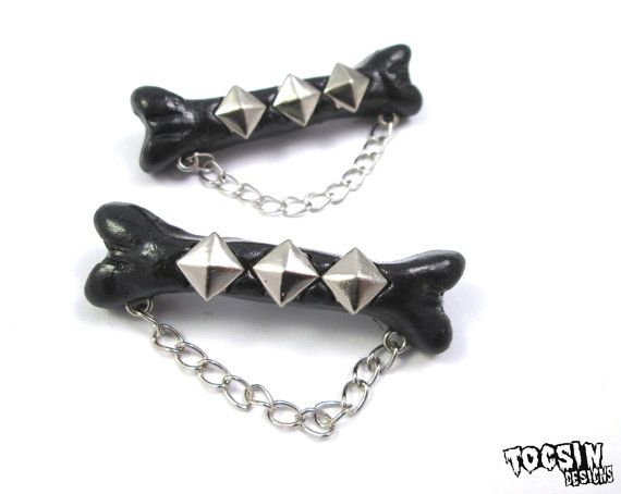 Bone Hair Clips - gothic hair clip - psychobilly hair - punk hair accessories - faux bone jewelry - gothic lolita accessories - deathrock