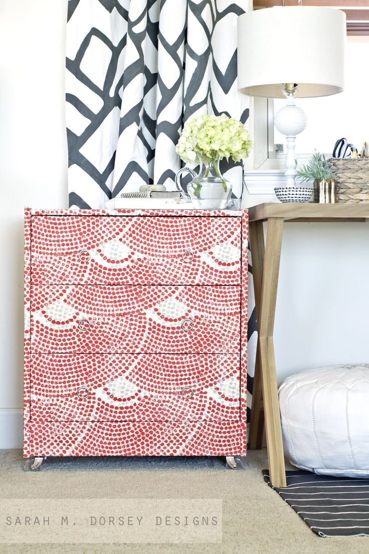 DIY: fabric wrapped dresser