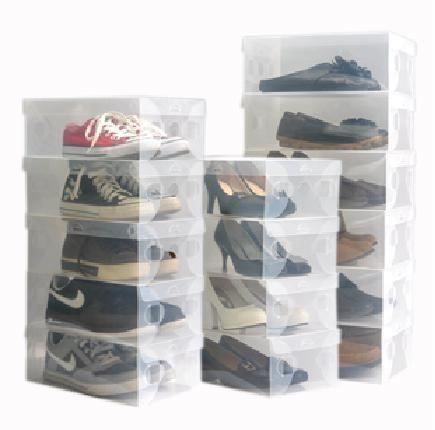 Gratis verzending transparante schoenendoos doorschijnend wit plastic opbergdoos duidelijk pp schoen