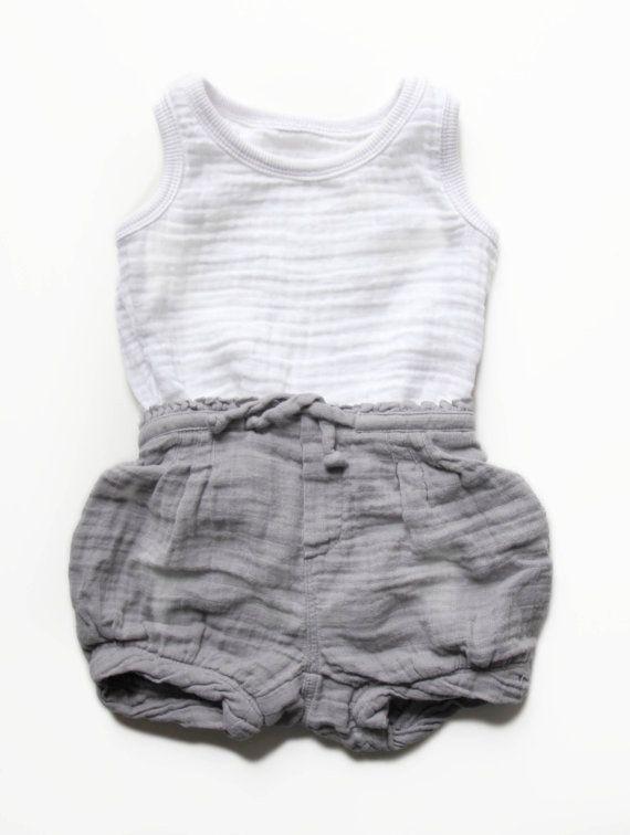 Baby grey shorts and white muslin shirt
