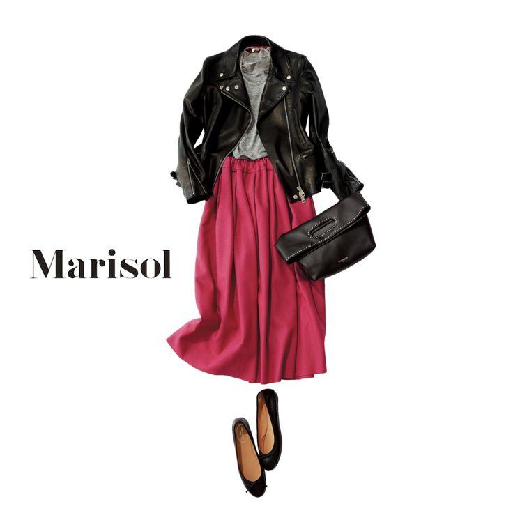 甘々で着ると老けてみえがちなベリー色は黒ライダースで若見えを狙うMarisol ONLINE 女っぷり上々!40代をもっとキレイに。