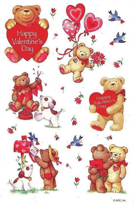 vtg agc valentine stickers teddy bears