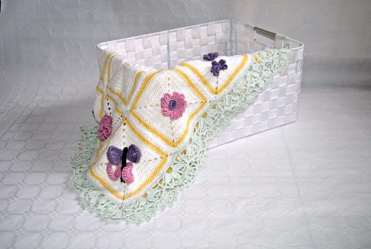 coperta all'uncinetto per bebè con fiori in colori di Il mondo di Tabitha su DaWanda.com