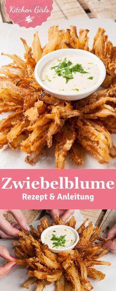 Blooming Onion - die knusprig frittierte Zwiebelblume. Wir haben das Rezept und eine genaue Anleitung für euch.