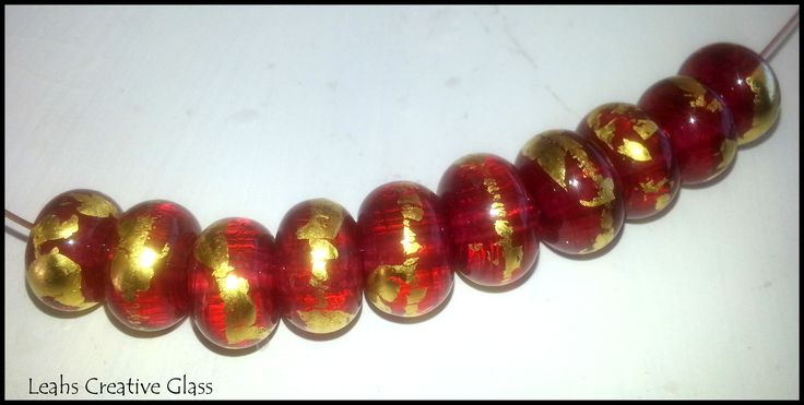 Rubino Pink rolled in Gold foil. Available from https://www.facebook.com/groups/australian.art.beads