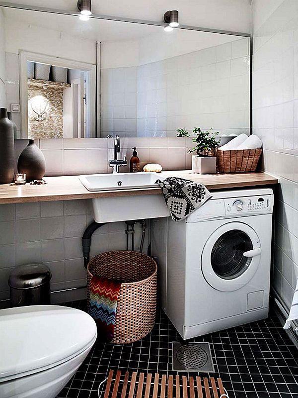 Intégration d'une machine à laver dans l'aménagement d'une petite salle de bains  http://www.homelisty.com/integrer-lave-linge-deco/