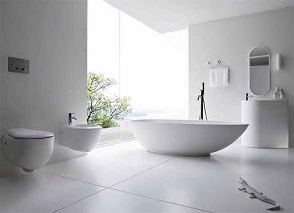 white bathroom floor tile - Google Search