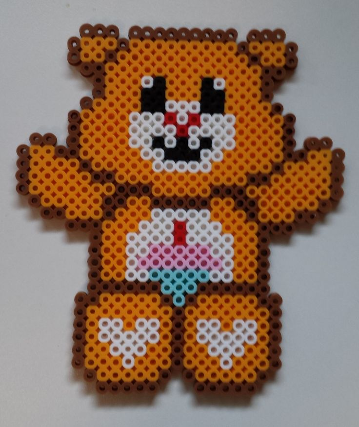 Perler Care Bear - Birthday Bear.