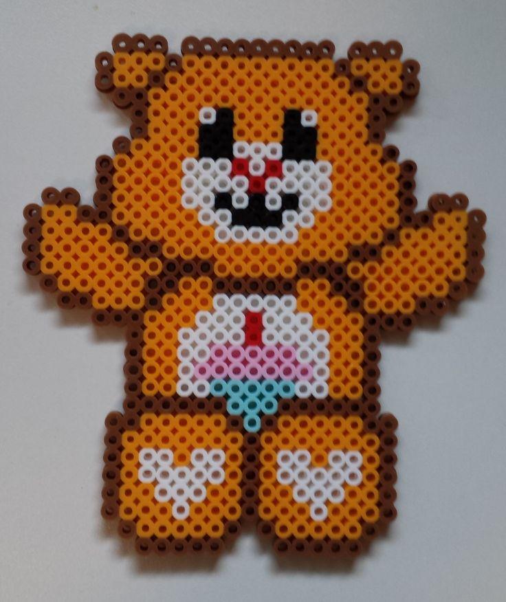 Perler Care Bear - Birthday Bear.