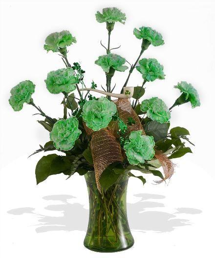 st. patricks day floral arrangements | Green Carnations Vased - St-Patricks-Day Catalog - Order Online and ...