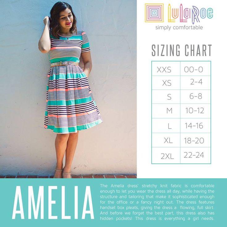 LuLaRoe Amelia dress sizing chart