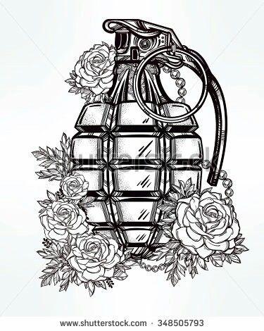 Rose grenade tattoo