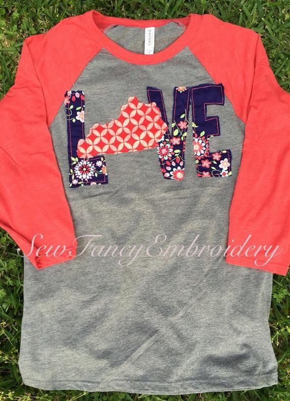 FALL LOVE Appliqued Raglan Shirt