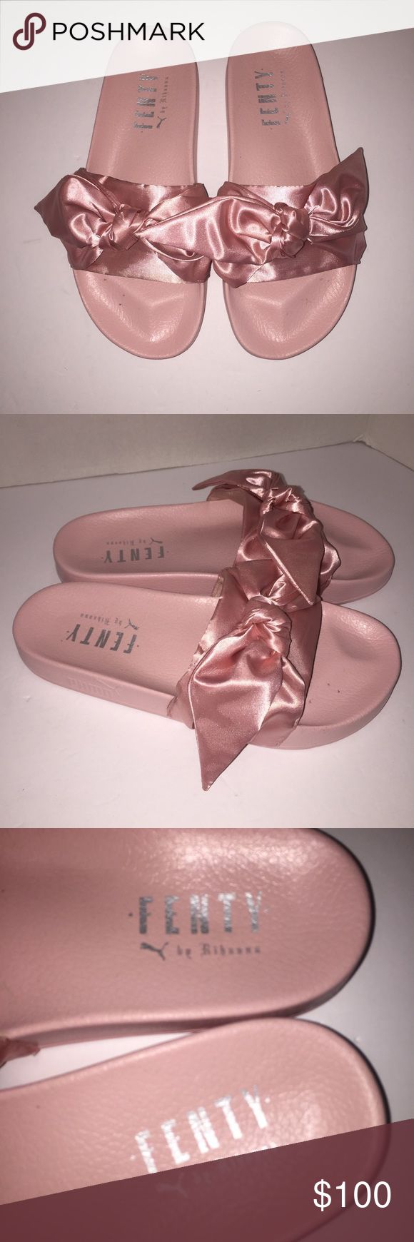 Puma Rihanna Fenty Pink Spa Bow Slides sz 9.5 Worn before no box sorry no trades send me a offer Puma Shoes Sandals