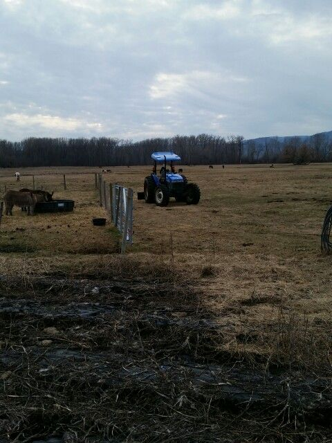 Cleaning out ditches with the tractor.