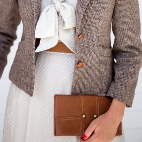This is close to perfection.: Polka Dots, Tweed Jackets, Clutches, Teacher Style, Bows, Work Outfit, Classy Fashion, Stay Classy, Tweed Blazers
