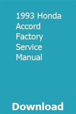 1993 Honda Accord Factory Service Manual download pdf
