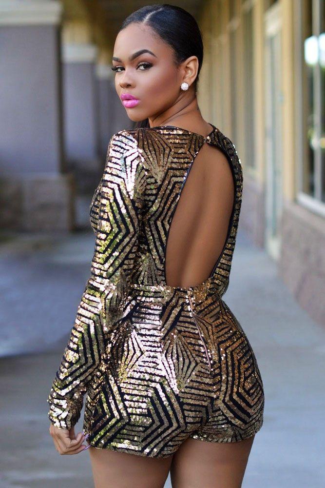 Rose/Black Gold Sequin Ladies Long Sleeve Playsuit Plus Size LAVELIQ