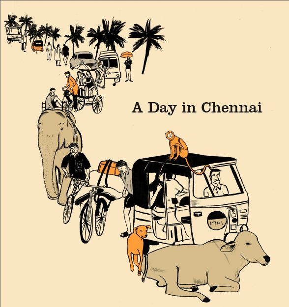 A Day in Chennai india illustrations
