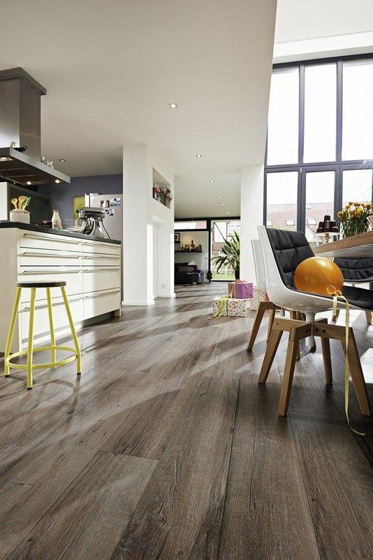 Designboden catega flex dd 300 altholzeiche lehmgrau 6941 holznachbildung küche essen modern meister weichmacherfrei fußwarm elastisch