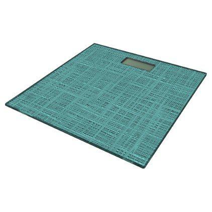 Cute Seafoam Blue Green Woven Linen Pattern Bathroom Scale - modern gifts cyo gift ideas personalize