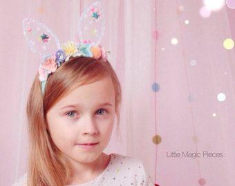 Bunny Ears Flower Crown Headband, Spring , Easter