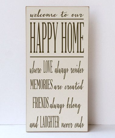 This Cream & Brown 'Happy Home' Wall Sign is perfect! #zulilyfinds