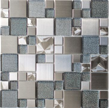 Modern Cobble Stainless Steel With Silver Glass Tile Modern Kitchen Tile Eden Mosaic