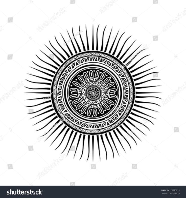 Mayan sun symbol, tattoo design over white background