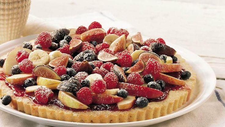 Peach-Raspberry Streusel Tart recipe from Betty Crocker