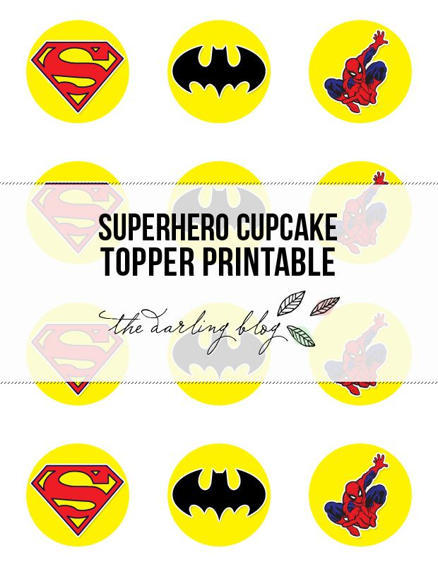 Awesome free cupcake toppers. Plan to use the batman ones on the napkins, or party bags, or as a tag on something!