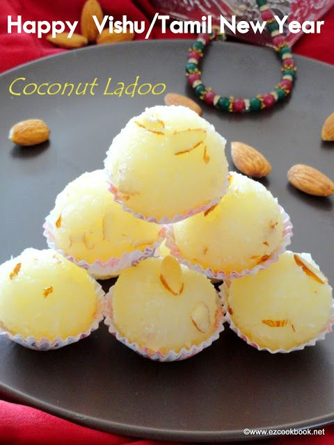 Coconut Ladoo | Special Recipes To Celebrate Vishu and Tamil New Year  We are happy to celebrate / wish you all  tamil new year as well as Vishu.  The Tamil New Year, Varsha Pirappu or Puthandu, is observed on the first day of Tamil month Chithirai, the first month as per traditional Tamil Calendar. Vishu is a popular as well as prime festival in the state of Kerala where it is celebrated as the auspicious occasion of New Year. It Is aslo considered as a festival of Feast to celebrate. W...
