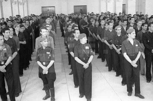DIVISIÓN AZUL: Madrid, 4-7-1941.- Los voluntarios españoles alistados para combatir contra el comunismo se concentran en la Ciudad Universitaria.- (Pie de foto original) Efe/Hermes Pato/jt