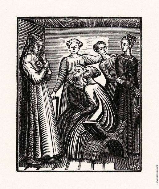 Фаворский В. А. Иллюстрация к произведению Данте Vita Nova. Разговор с доннами о любви