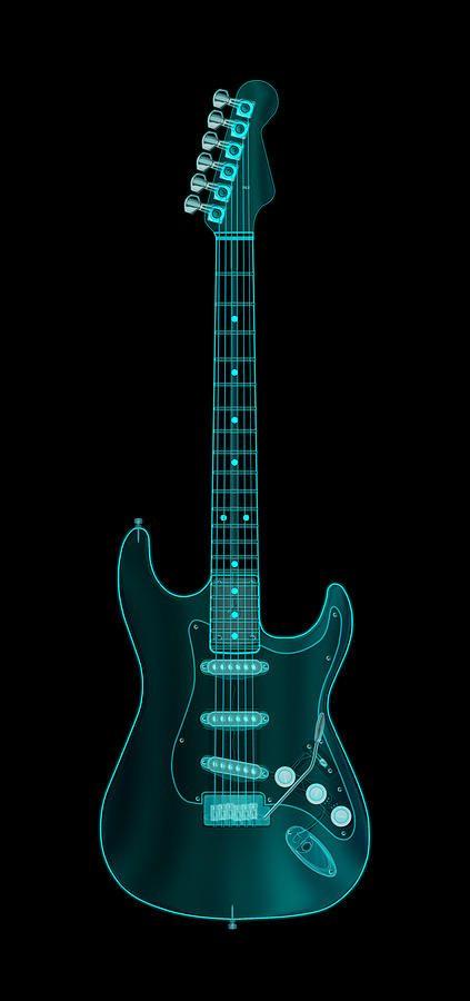 X-ray Electric Guitar Digital Art  - X-ray Electric Guitar Fine Art Print