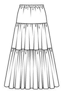 Patrón o molde de costura para imprimir en casa gratis de faldas fruncidas, abullonadas, plisadas. tubito, acampanada, capas, con vuelos, con tablas, pliegues, tutu, tul, pareo