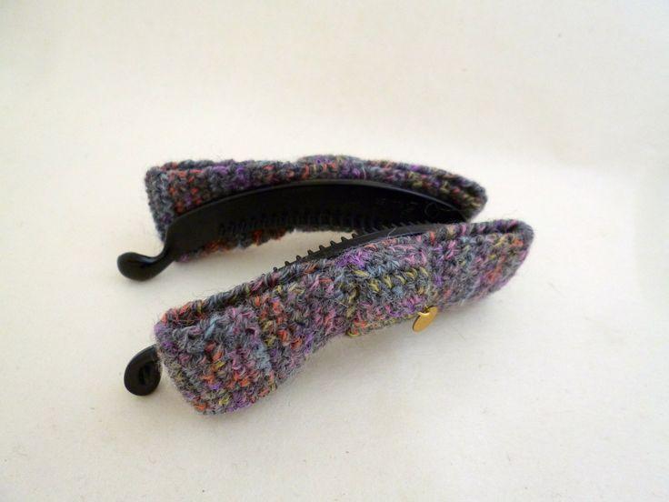 banana clip / pince banane à cheveux avec deux noeuds papillon gris crochetés à la main : Accessoires coiffure par yoyotricot