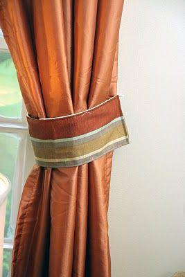 homemade ginger: How to Make Curtain Tie Backs....BEAUTIFUL ORANGE CURTAINS 4 AN ORANGE COLORSCHEME & DECOR OR A COLORSCHEME W/ORANGE AS AN ACCENT COLOR.CHERIE