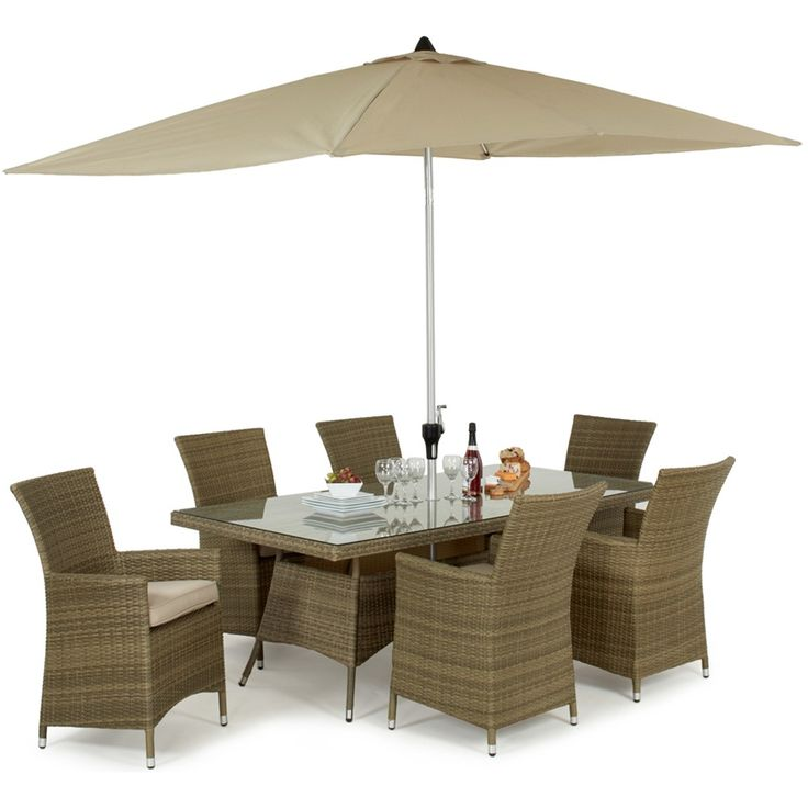 The Maze Rattan Tuscany 6 Seat Rectangular Dining set is a wonderful large set for entertaining. With 6 LA highback chairs with thick seat pads, you and your guests won't want to get up. Natural brushed synthetic rattan hand woven around an aluminium frame this set can be left outside all year round, so you will always be ready even if the weather isn't