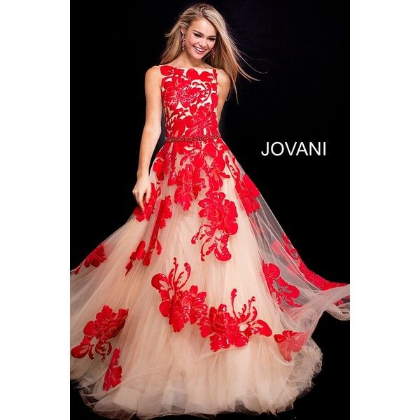Nude red long embellished belt sleeveless v back prom ballgown. ❤ liked on Polyvore featuring dresses, gowns, red gown, red evening gowns, tulle prom dress, long red evening gown and long red dress