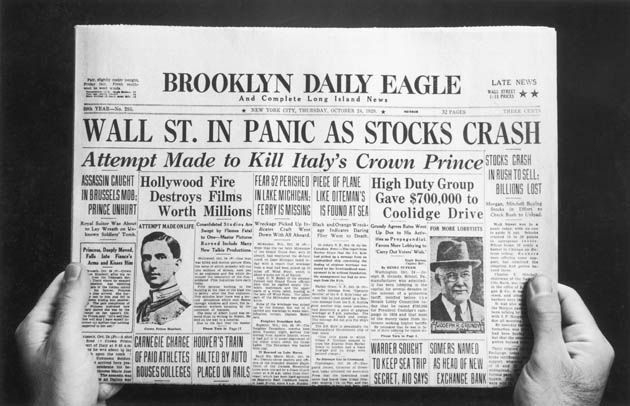 The 'Black Thursday' stock market crash was the worst crash in U.S. history & heralded the beginning of the Great Depression. On October 24th 1929, the market lost 11% of its value.