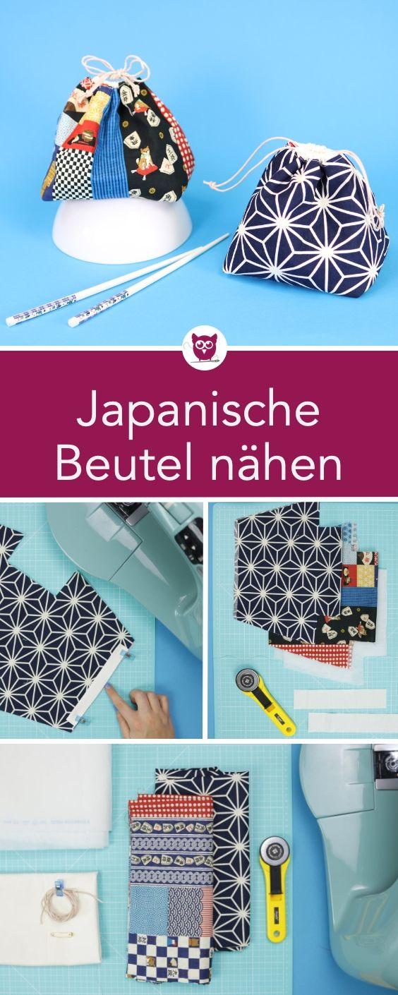 Japanische Kinchaku Beutel nähen aus japanischen Stoffen mit kostenlosem Schnittmuster. Die Beutelchen mit Tunnelzug kann man als Handtasche kleines Kosmetiktäschchen, Täschchen für Kleinkram oder auch Geschenkbeutel nutzen. Nähanleitung von DIY Eule. – Zwergolino