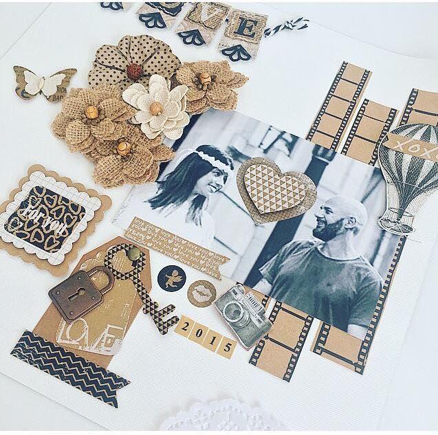 página decorada com linha kraft - tags, apliques metal, fita adesiva decorativa, furadores, flores artesanais,adesivos e papéis decorados