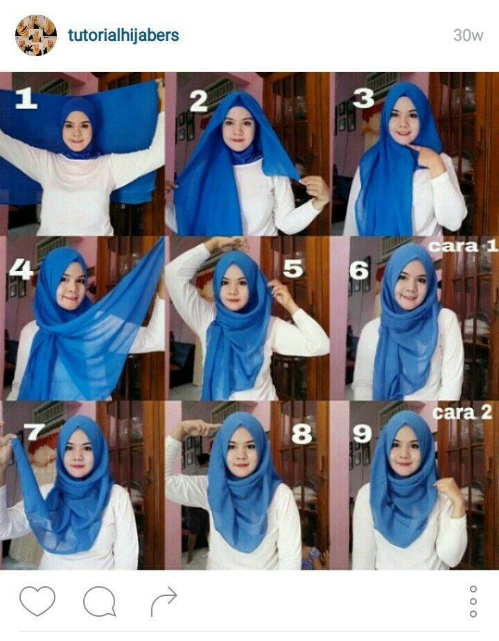 Hijab tutorial for square scarf. Cute! Credit to: @tutorialhijabers on Instagram