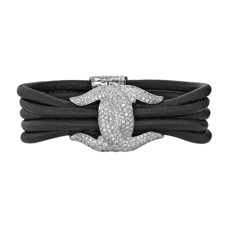 """Day #12 Feature: Scott Kay's """"Leather Guardian Bracelet"""" from the ladies fashion line combines twisted leather with sterling silver and white sapphires. A Must-Have! (Style #LB3402SPBKAWSM75). Win one of $25,000 worth of Scott Kay fashion jewelry pieces! Enter at www.stevepadisjewelry.com/scottkay31days #31daysofscottkay"""