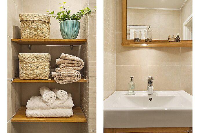 Smart och stilig förvaring av handdukar och badrumsartiklar.