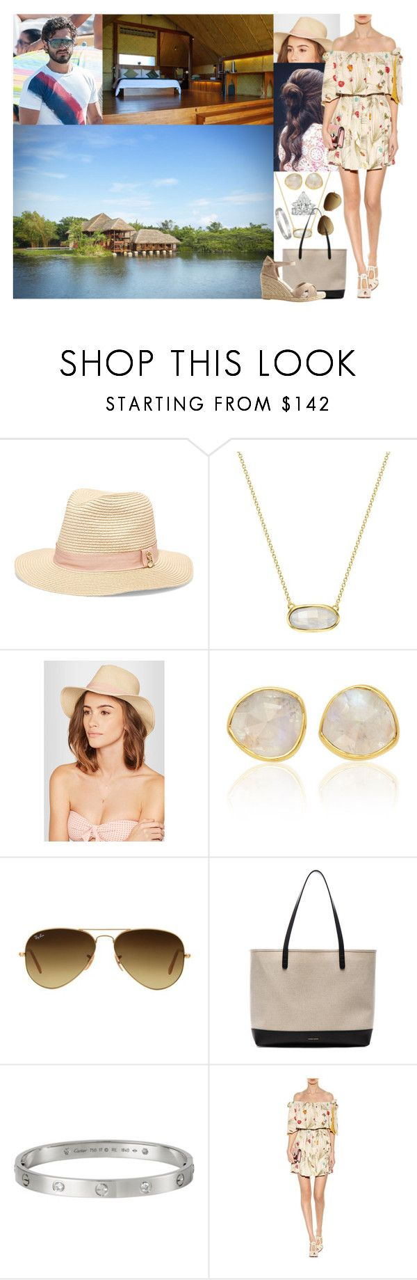 Arriving in Sigiriya, Sri Lanka for their Honeymoon & Settling into their Villa at the Resort Vil Uyana + Relaxing the Entire Day by louiseingrid-ofdenmark on Polyvore featuring Fendi, Castañer, Mansur Gavriel, Monica Vinader, Melissa Odabash, Ray-Ban, bedroom, rustic and country
