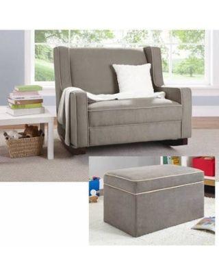 Baby Relax Hadley Double Rocker: The baby glider rocker is made of durable wood and metal construction Thickly padded seat cushions and back Clean lines and contemporary styling 1 and a half times as wide as a regular rocker Baby glider rocker seat...