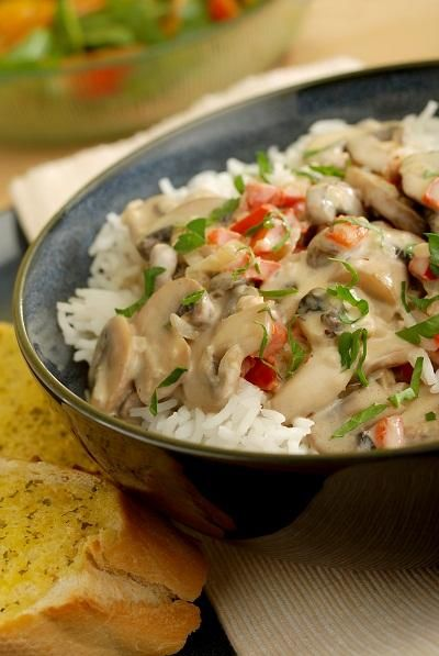 Mushroom Stroganoff  Use any mushrooms you have - even if they have started to dry out and go wrinkly they will still work in this recipe. Green and yellow pepper also work well.